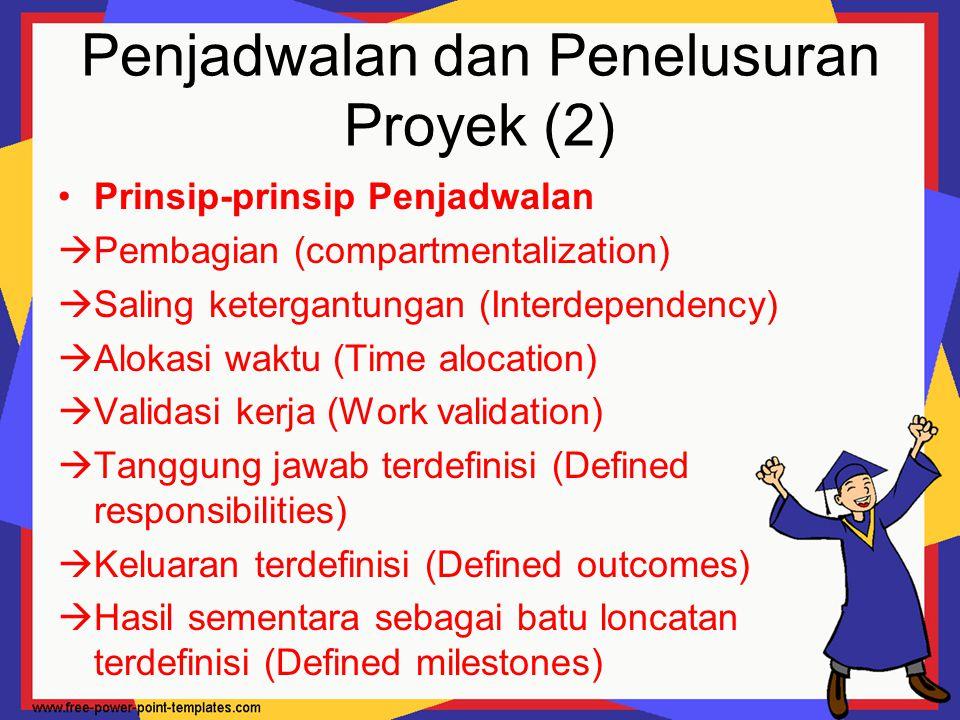 Penjadwalan dan Penelusuran Proyek (2) Prinsip-prinsip Penjadwalan  Pembagian (compartmentalization)  Saling ketergantungan (Interdependency)  Alok