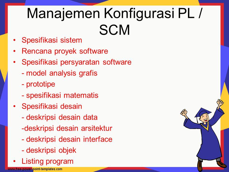 Manajemen Konfigurasi PL / SCM Spesifikasi sistem Rencana proyek software Spesifikasi persyaratan software - model analysis grafis - prototipe - spesi