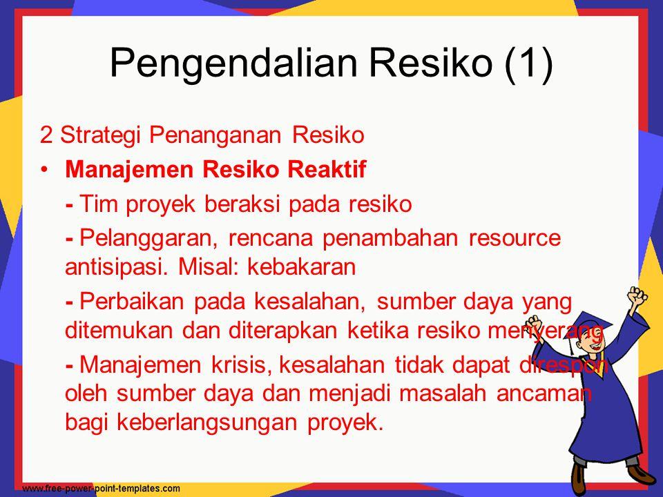 Pengendalian Resiko (1) 2 Strategi Penanganan Resiko Manajemen Resiko Reaktif - Tim proyek beraksi pada resiko - Pelanggaran, rencana penambahan resou