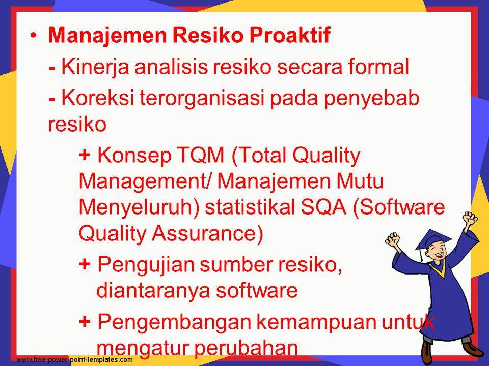 Manajemen Resiko Proaktif - Kinerja analisis resiko secara formal - Koreksi terorganisasi pada penyebab resiko + Konsep TQM (Total Quality Management/
