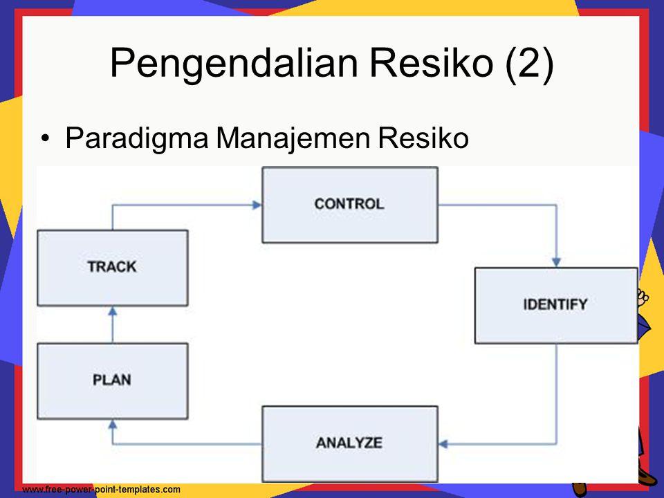 Pengendalian Resiko (3) Pembuatan Tabel Resiko Tujuan pembuatan Tabel Resiko, adalah: Estimasi kemungkinan kejadian Estimasi dampak pada proyek yang berskala 1 sampai 5, dimana: 1 = dampak terendah pada kesuksesan proyek 5 = dampak terbesar pada kesuksesan proyek Tabel diurutkan berdasarkan kemungkinan & dampak