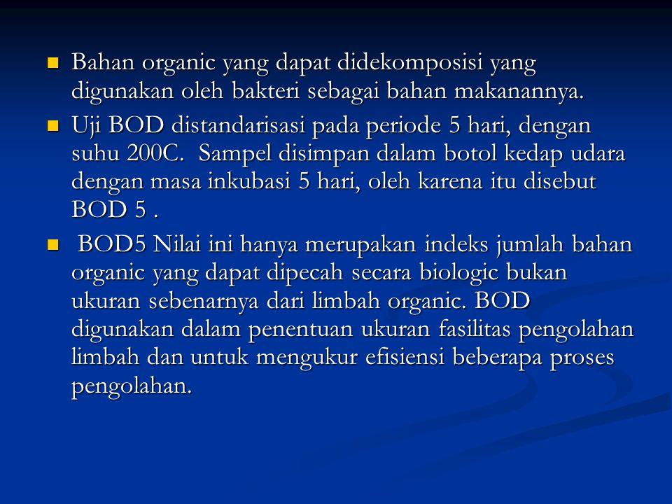Bahan organic yang dapat didekomposisi yang digunakan oleh bakteri sebagai bahan makanannya. Bahan organic yang dapat didekomposisi yang digunakan ole