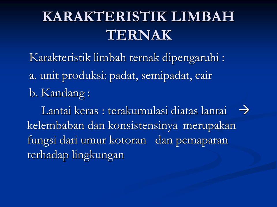 Karakteristik limbah ternak dipengaruhi : Karakteristik limbah ternak dipengaruhi : a. unit produksi: padat, semipadat, cair a. unit produksi: padat,
