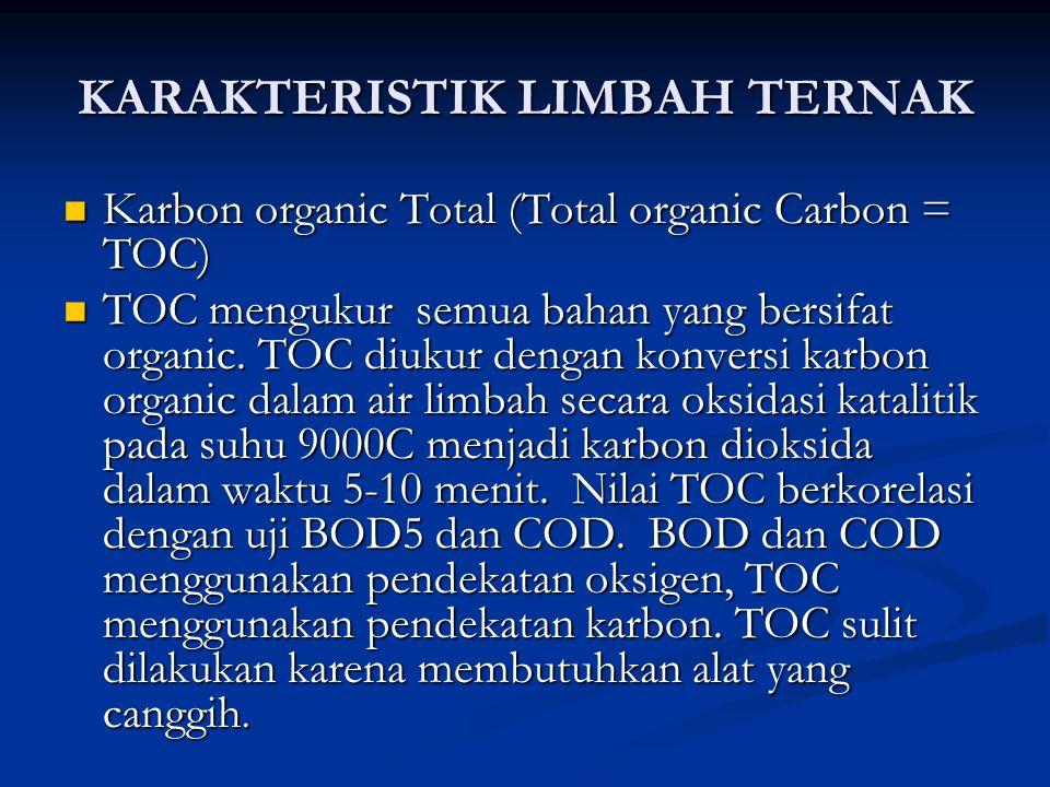 KARAKTERISTIK LIMBAH TERNAK Karbon organic Total (Total organic Carbon = TOC) Karbon organic Total (Total organic Carbon = TOC) TOC mengukur semua bah