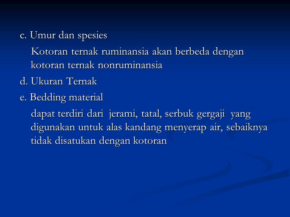 c. Umur dan spesies Kotoran ternak ruminansia akan berbeda dengan kotoran ternak nonruminansia Kotoran ternak ruminansia akan berbeda dengan kotoran t