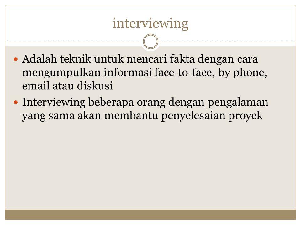 interviewing Adalah teknik untuk mencari fakta dengan cara mengumpulkan informasi face-to-face, by phone, email atau diskusi Interviewing beberapa ora