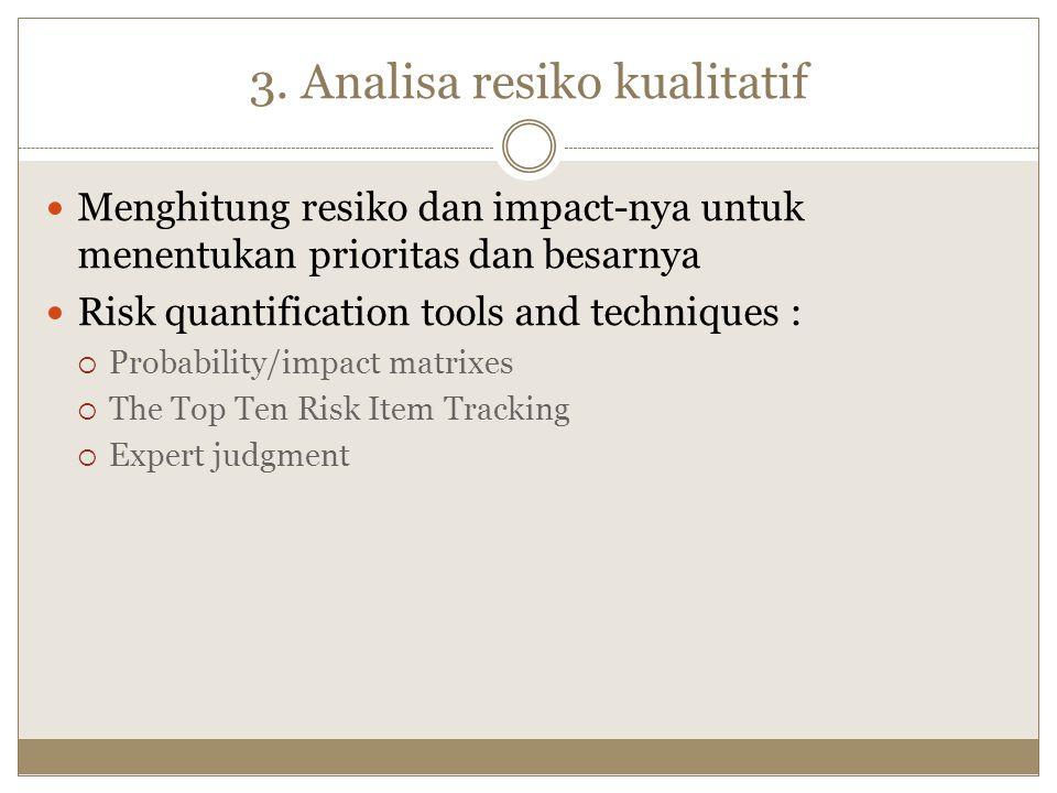 3. Analisa resiko kualitatif Menghitung resiko dan impact-nya untuk menentukan prioritas dan besarnya Risk quantification tools and techniques :  Pro