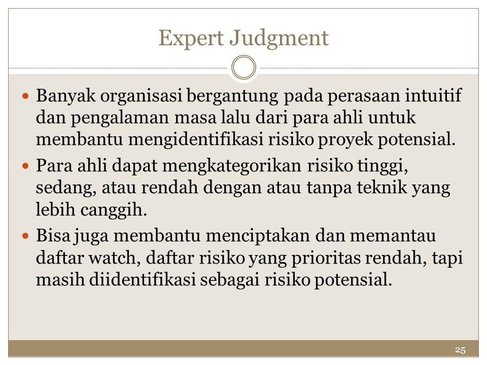 25 Expert Judgment Banyak organisasi bergantung pada perasaan intuitif dan pengalaman masa lalu dari para ahli untuk membantu mengidentifikasi risiko