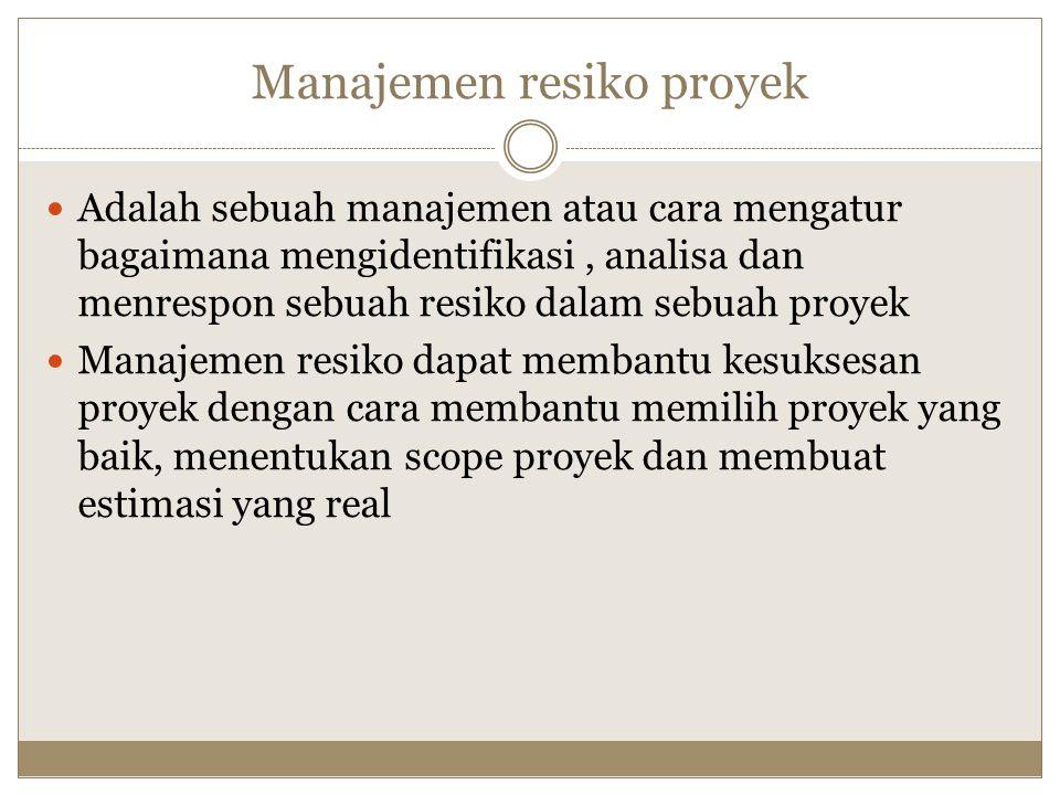 Manajemen resiko proyek Adalah sebuah manajemen atau cara mengatur bagaimana mengidentifikasi, analisa dan menrespon sebuah resiko dalam sebuah proyek