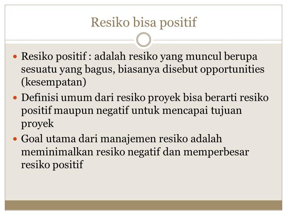 Resiko bisa positif Resiko positif : adalah resiko yang muncul berupa sesuatu yang bagus, biasanya disebut opportunities (kesempatan) Definisi umum da
