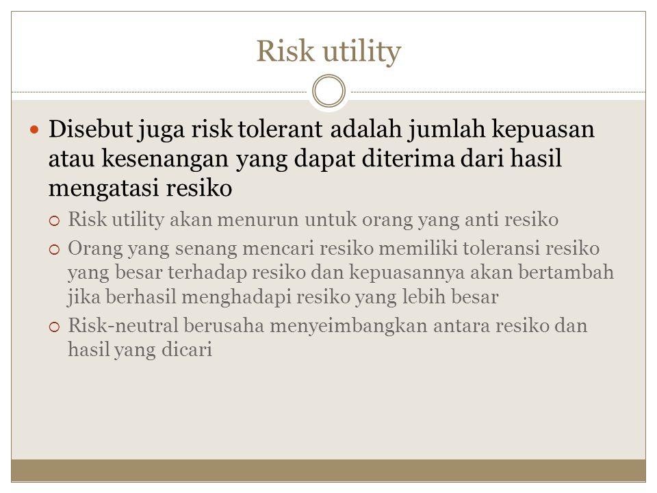 Risk utility Disebut juga risk tolerant adalah jumlah kepuasan atau kesenangan yang dapat diterima dari hasil mengatasi resiko  Risk utility akan men