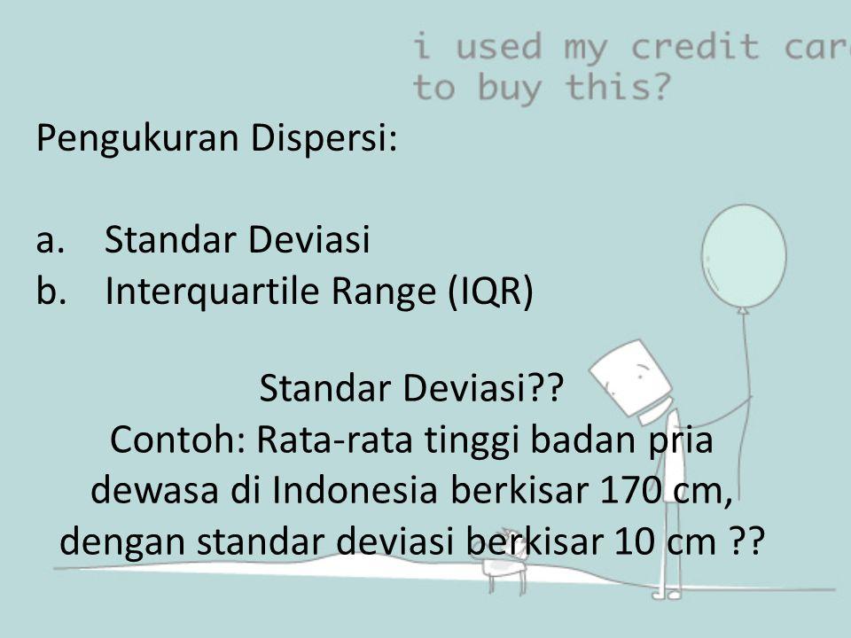 Pengukuran Dispersi: a.Standar Deviasi b.Interquartile Range (IQR) Standar Deviasi?? Contoh: Rata-rata tinggi badan pria dewasa di Indonesia berkisar