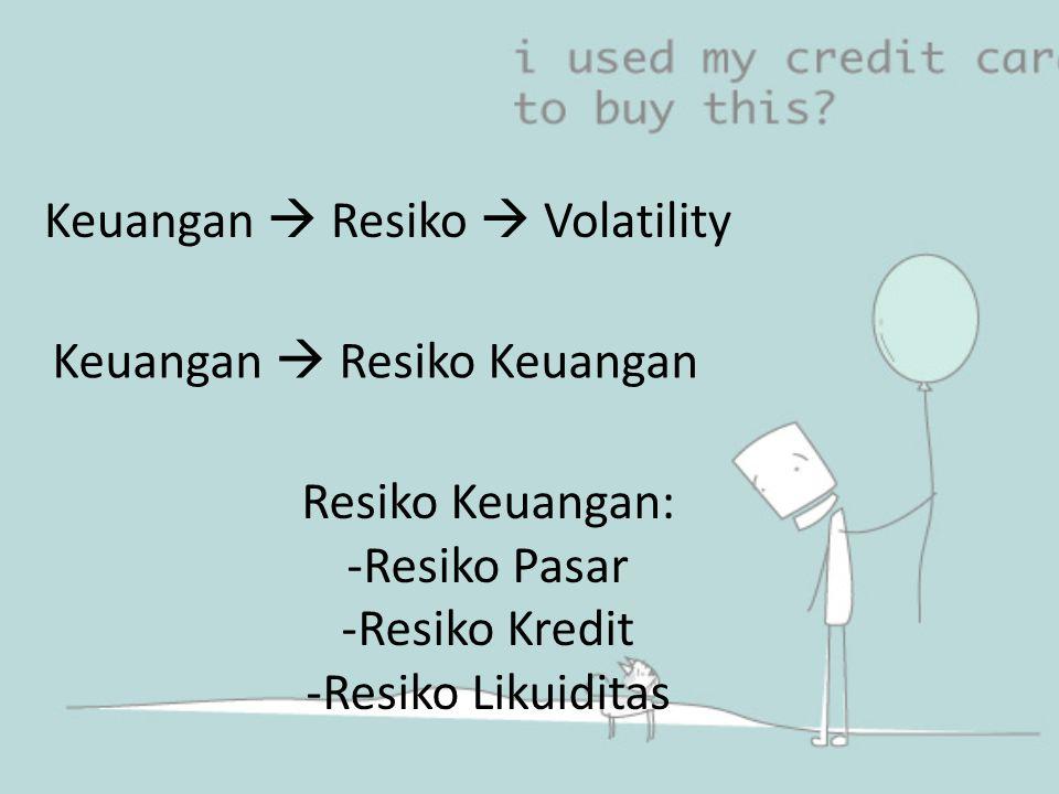 Keuangan  Resiko  Volatility Keuangan  Resiko Keuangan Resiko Keuangan: -Resiko Pasar -Resiko Kredit -Resiko Likuiditas