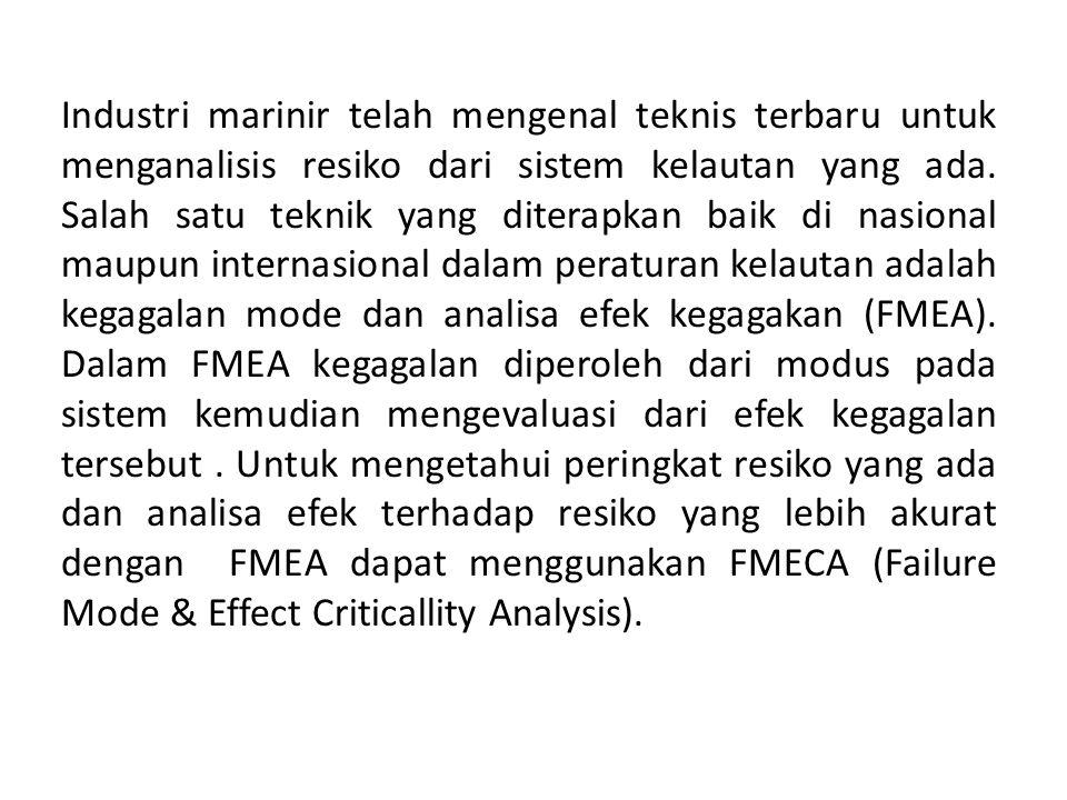 APLIKASI FMEA PADA REGULASI KELAUTAN FMEA atau FMECA adalah pendekatan yang effektif untuk menangani analisis dan penilaian resiko, manajemen dan komunikasi resiko.