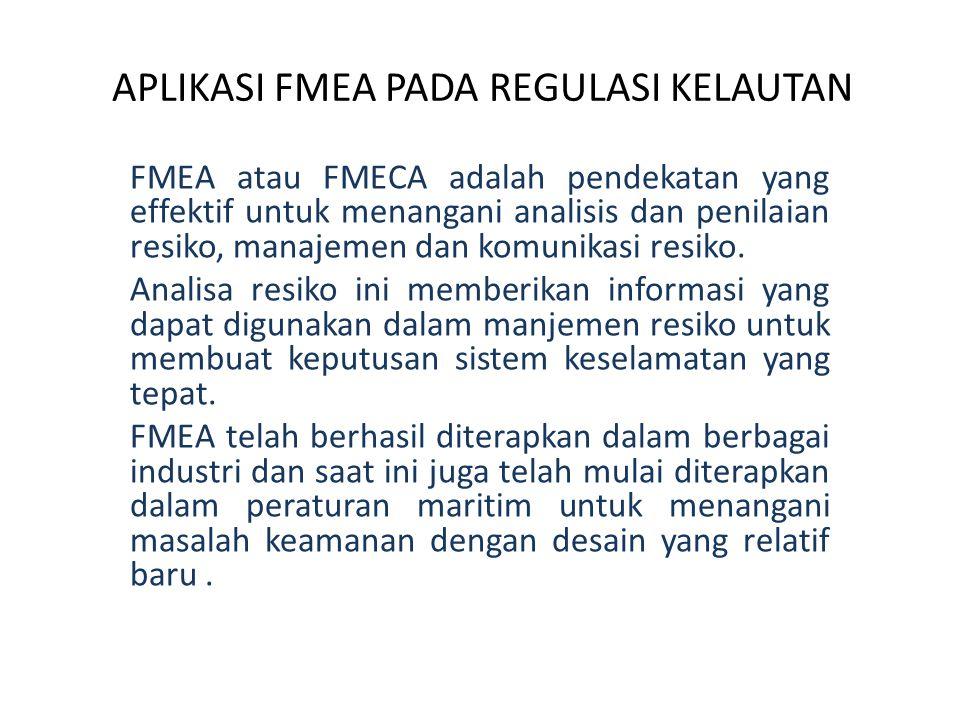APLIKASI FMEA PADA REGULASI KELAUTAN FMEA atau FMECA adalah pendekatan yang effektif untuk menangani analisis dan penilaian resiko, manajemen dan komu