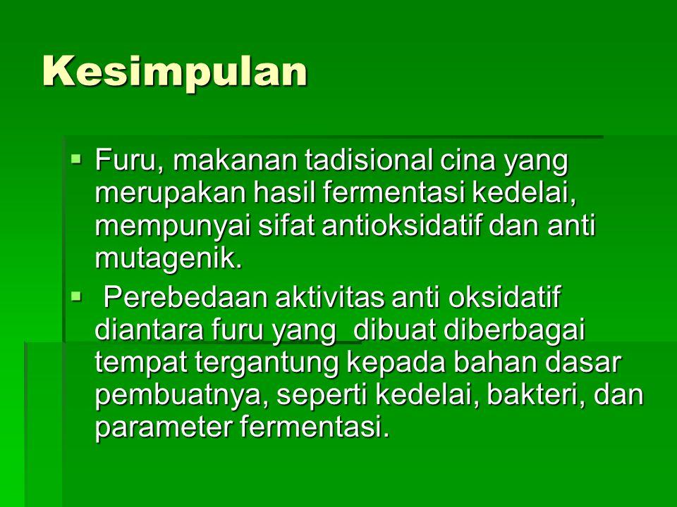 Kesimpulan  Furu, makanan tadisional cina yang merupakan hasil fermentasi kedelai, mempunyai sifat antioksidatif dan anti mutagenik.  Perebedaan akt