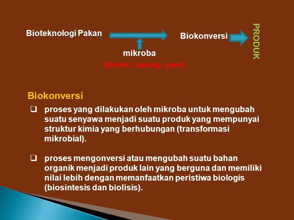 produk yang dihasilkan  sel-sel mikroba atau biomassa,  enzim,  metabolik primer dan  metabolik sekunder Faktor-faktor yang mempengaruhi biokonversi 1)Sifat fisik dan kimia substrat.