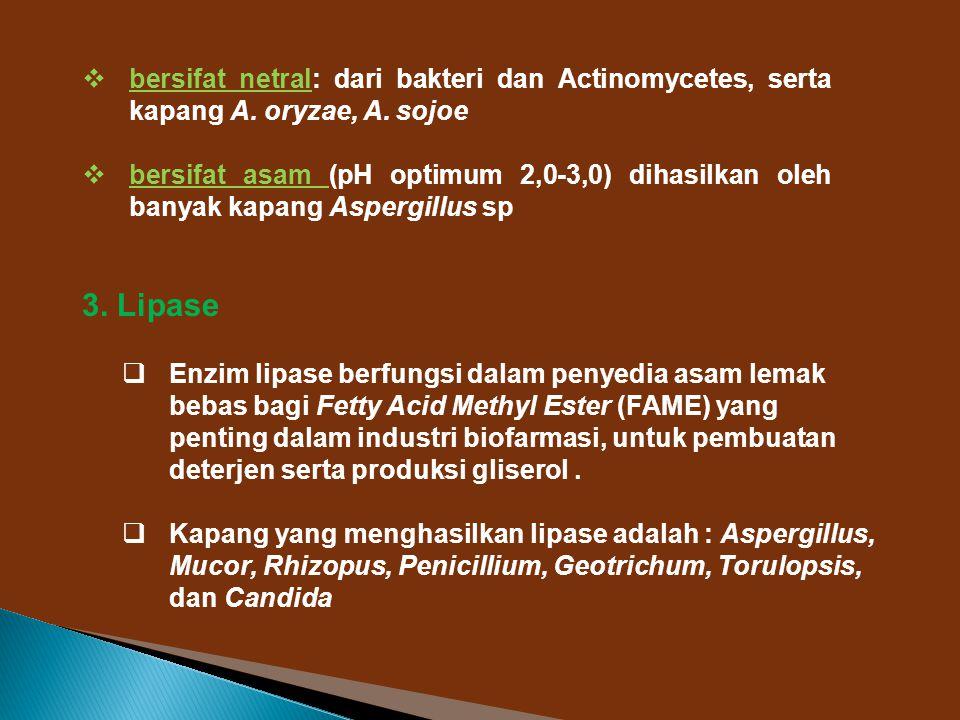  bersifat netral: dari bakteri dan Actinomycetes, serta kapang A. oryzae, A. sojoe  bersifat asam (pH optimum 2,0-3,0) dihasilkan oleh banyak kapang