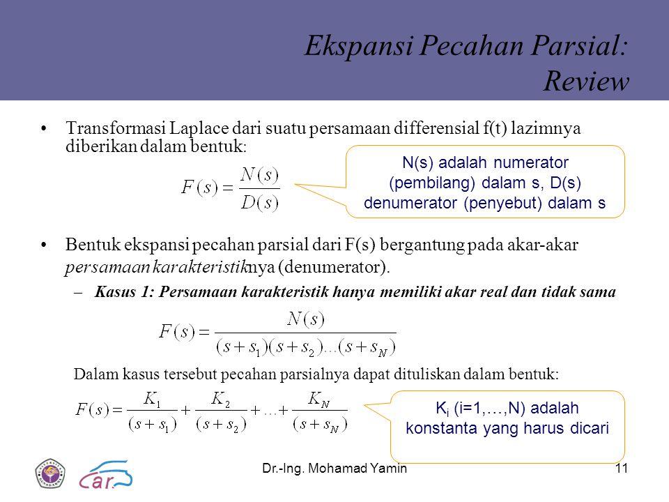Dr.-Ing. Mohamad Yamin11 Ekspansi Pecahan Parsial: Review Transformasi Laplace dari suatu persamaan differensial f(t) lazimnya diberikan dalam bentuk