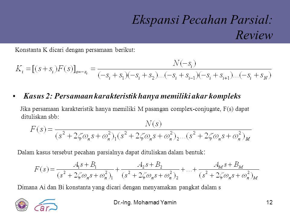 Dr.-Ing. Mohamad Yamin12 Ekspansi Pecahan Parsial: Review Kasus 2: Persamaan karakteristik hanya memiliki akar kompleks Dalam kasus tersebut pecahan p