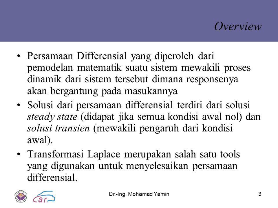 Dr.-Ing. Mohamad Yamin3 Overview Persamaan Differensial yang diperoleh dari pemodelan matematik suatu sistem mewakili proses dinamik dari sistem terse
