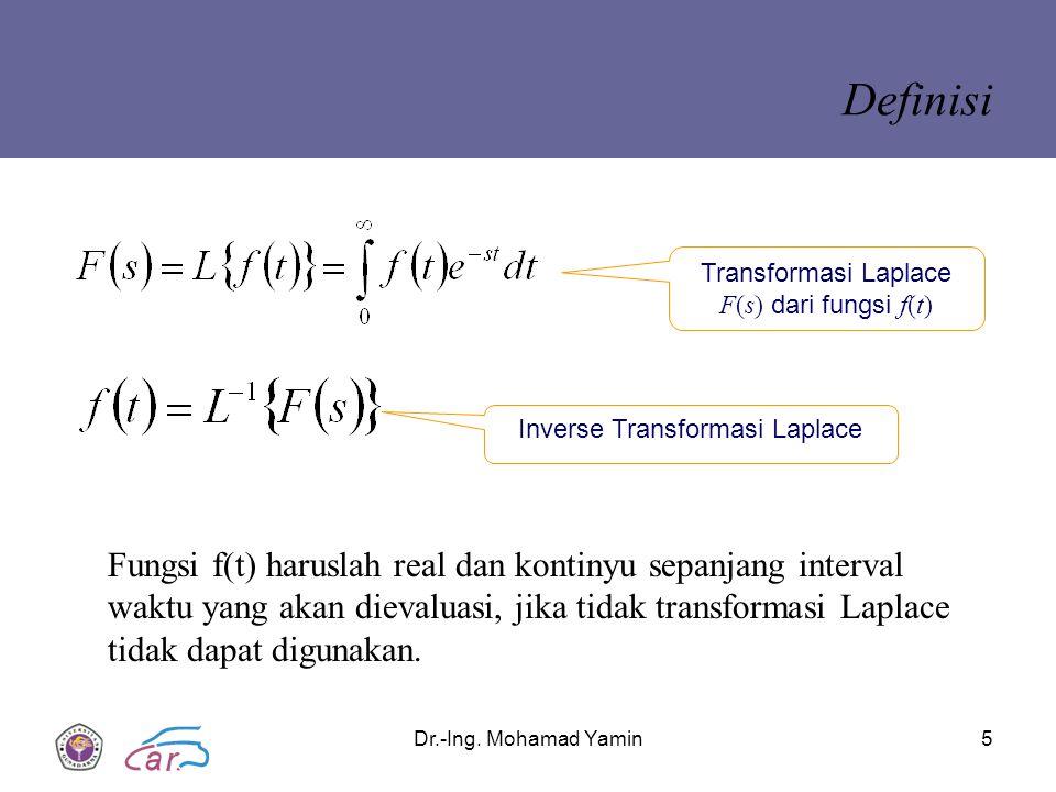 Dr.-Ing. Mohamad Yamin5 Definisi Transformasi Laplace F(s) dari fungsi f(t) Inverse Transformasi Laplace Fungsi f(t) haruslah real dan kontinyu sepanj