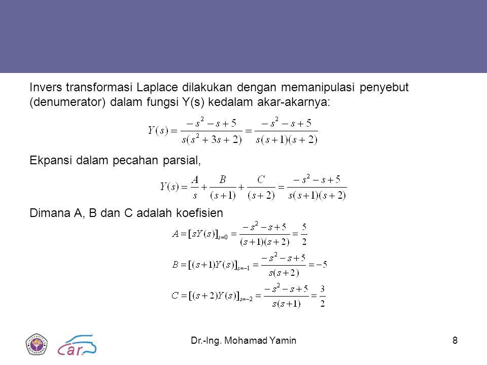 Dr.-Ing. Mohamad Yamin8 Invers transformasi Laplace dilakukan dengan memanipulasi penyebut (denumerator) dalam fungsi Y(s) kedalam akar-akarnya: Ekpan