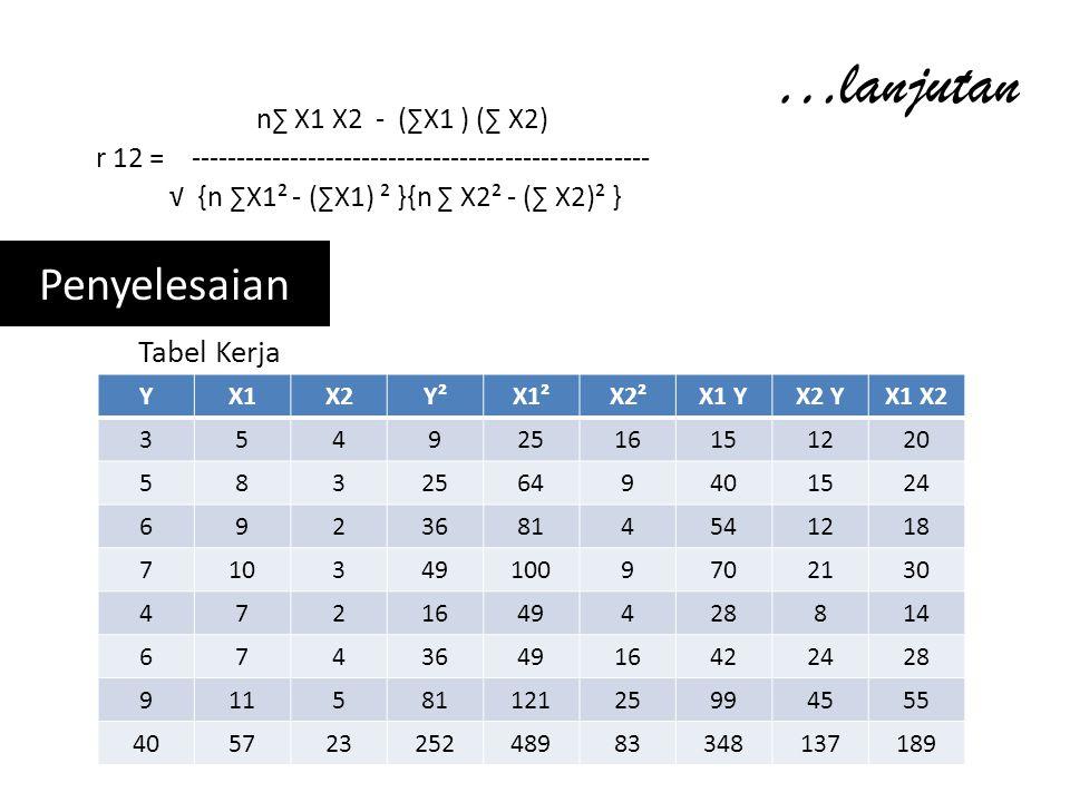 …lanjutan n∑ X1 X2 - (∑X1 ) (∑ X2) r 12 = --------------------------------------------------- √ {n ∑X1² - (∑X1) ² }{n ∑ X2² - (∑ X2)² } Penyelesaian Tabel Kerja YX1X2Y²X1²X2²X1 YX2 YX1 X2 35492516151220 58325649401524 69236814541218 7103491009702130 4721649428814 674364916422428 91158112125994555 40572325248983348137189