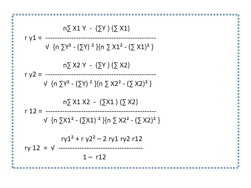 n∑ X1 Y - (∑Y ) (∑ X1) r y1 = ----------------------------------------------- √ {n ∑Y² - (∑Y) ² }{n ∑ X1² - (∑ X1)² } n∑ X2 Y - (∑Y ) (∑ X2) r y2 = --