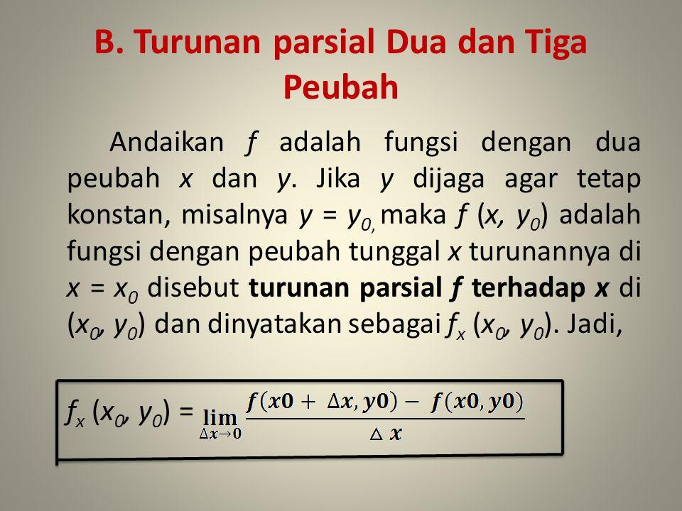 B. Turunan parsial Dua dan Tiga Peubah Andaikan f adalah fungsi dengan dua peubah x dan y. Jika y dijaga agar tetap konstan, misalnya y = y 0, maka f