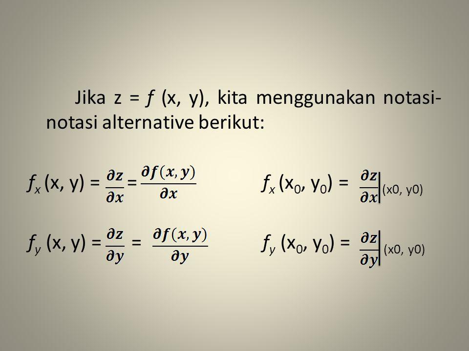 Jika z = f (x, y), kita menggunakan notasi- notasi alternative berikut: f x (x, y) = = f x (x 0, y 0 ) = (x0, y0) f y (x, y) = = f y (x 0, y 0 ) = (x0