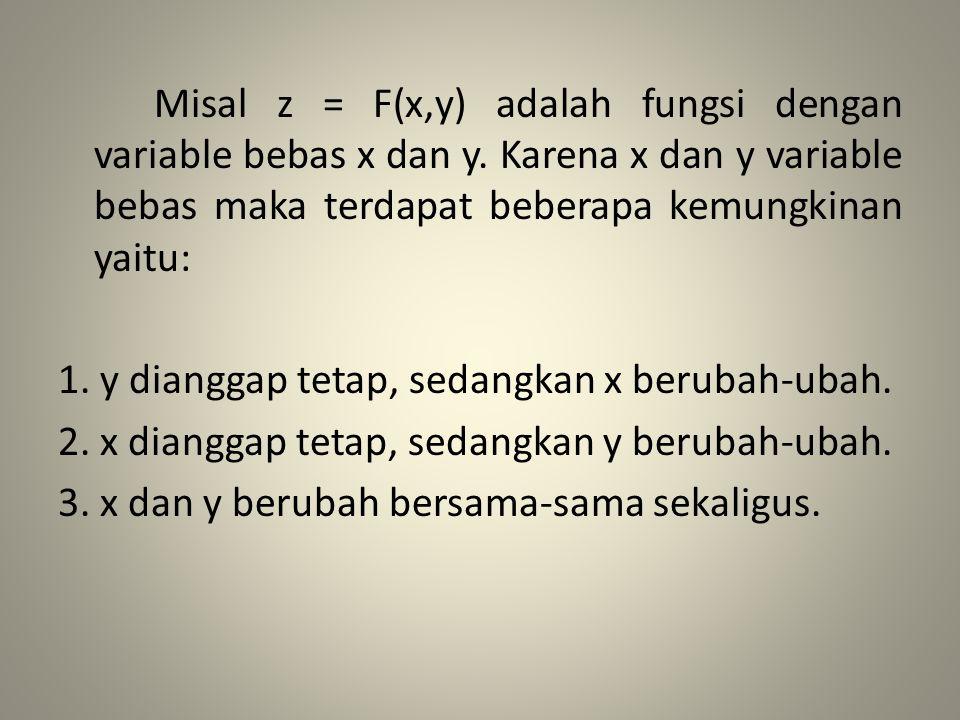 Definisi : Misal z = F(x,y) adalah fungsi dua peubah yang terdefinisi pada interval tertentu, turunan parsial pertama z terhadap x dan y dinotasikan dengan dan dan didefinisikan oleh = dan =