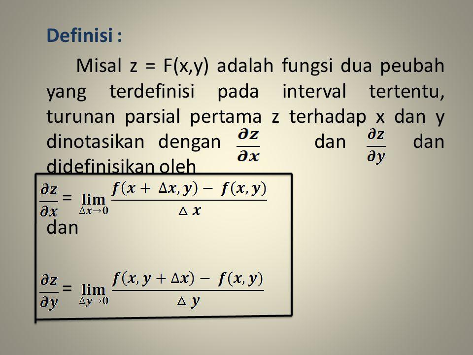 Definisi : Misal z = F(x,y) adalah fungsi dua peubah yang terdefinisi pada interval tertentu, turunan parsial pertama z terhadap x dan y dinotasikan d