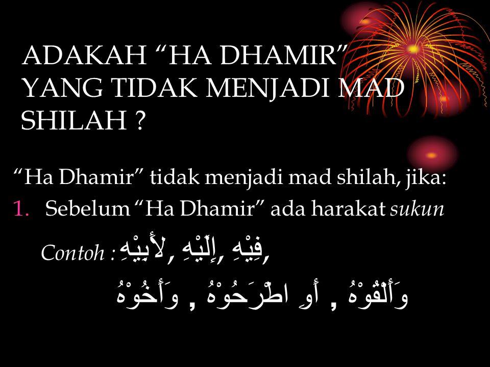 """ADAKAH """"HA DHAMIR"""" YANG TIDAK MENJADI MAD SHILAH ? """"Ha Dhamir"""" tidak menjadi mad shilah, jika: 1.Sebelum """"Ha Dhamir"""" ada harakat s ukun Contoh : لأَبِ"""