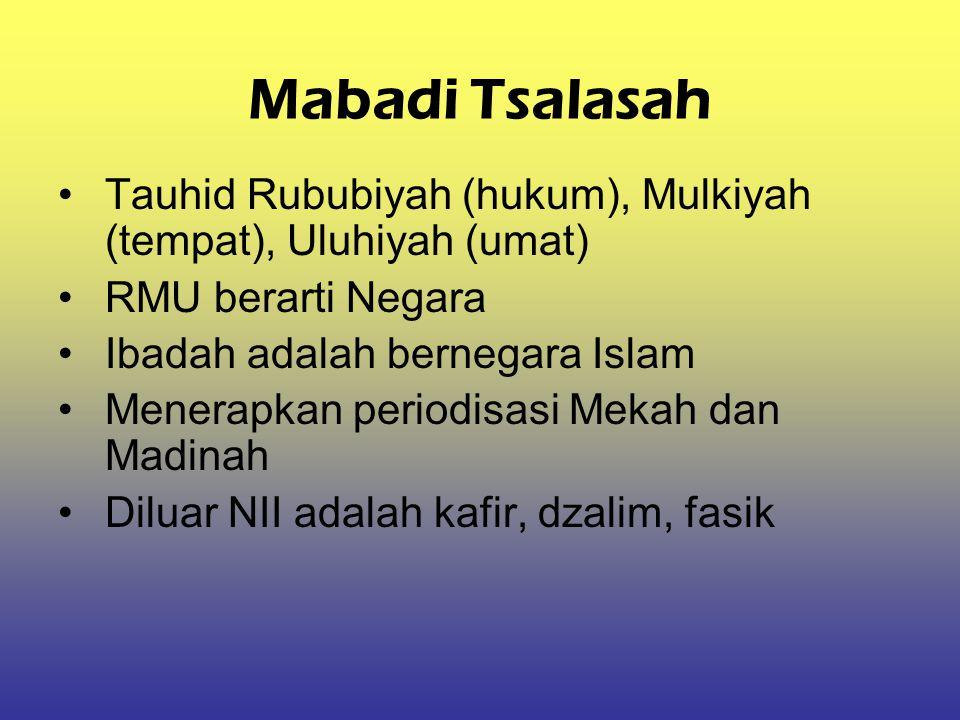 Mabadi Tsalasah Tauhid Rububiyah (hukum), Mulkiyah (tempat), Uluhiyah (umat) RMU berarti Negara Ibadah adalah bernegara Islam Menerapkan periodisasi M