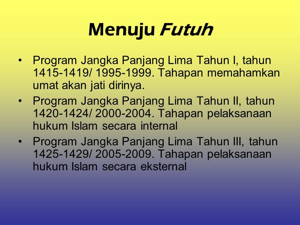 Menuju Futuh Program Jangka Panjang Lima Tahun I, tahun 1415-1419/ 1995-1999. Tahapan memahamkan umat akan jati dirinya. Program Jangka Panjang Lima T