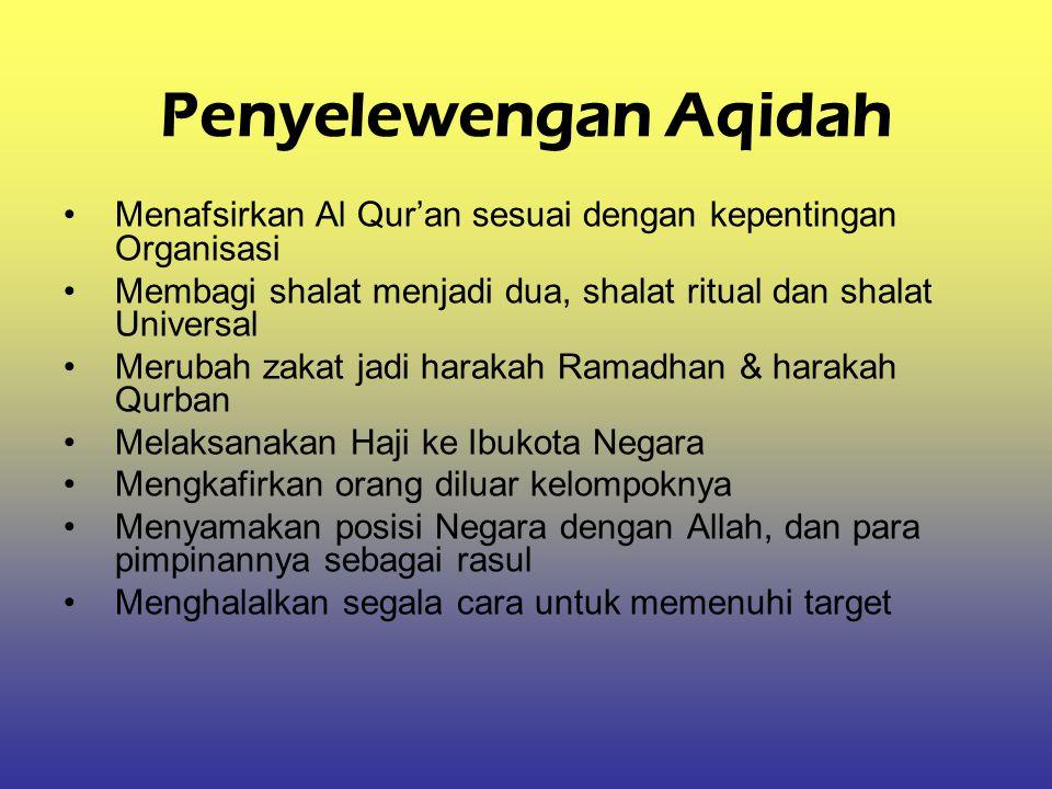 Penyelewengan Aqidah Menafsirkan Al Qur'an sesuai dengan kepentingan Organisasi Membagi shalat menjadi dua, shalat ritual dan shalat Universal Merubah