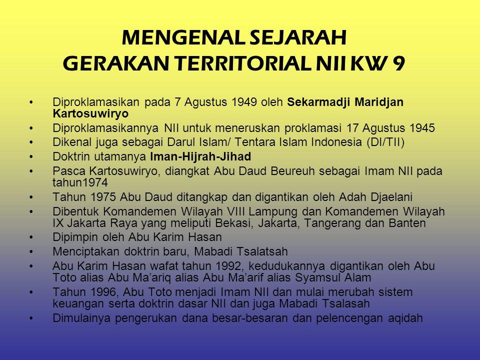 MENGENAL SEJARAH GERAKAN TERRITORIAL NII KW 9 Diproklamasikan pada 7 Agustus 1949 oleh Sekarmadji Maridjan Kartosuwiryo Diproklamasikannya NII untuk m