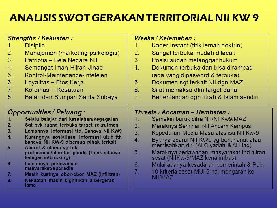 ANALISIS SWOT GERAKAN TERRITORIAL NII KW 9 Strengths / Kekuatan : 1.Disiplin 2.Manajemen (marketing-psikologis) 3.Patriotis – Bela Negara NII 4.Semang