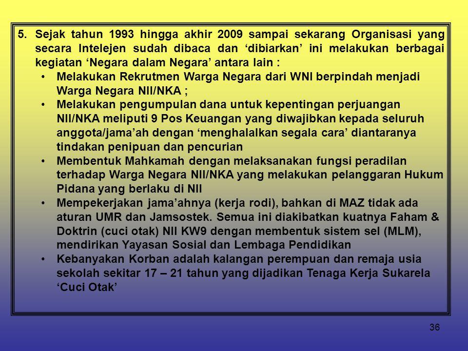36 5.Sejak tahun 1993 hingga akhir 2009 sampai sekarang Organisasi yang secara Intelejen sudah dibaca dan 'dibiarkan' ini melakukan berbagai kegiatan