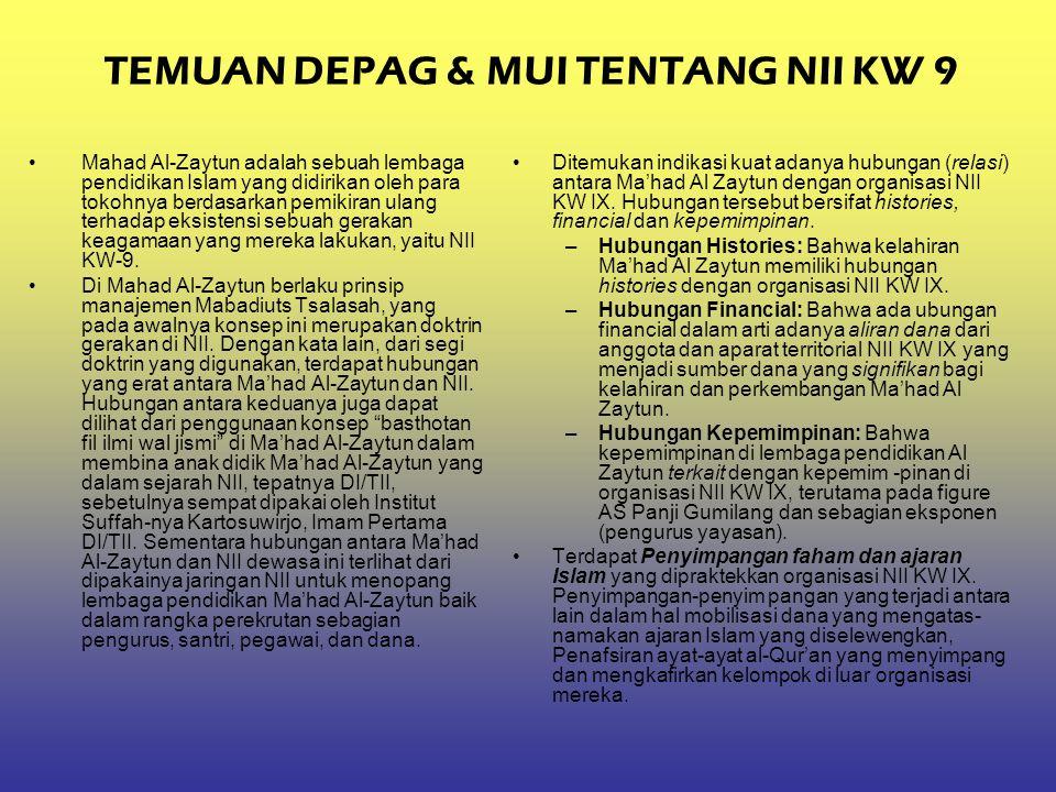 TEMUAN DEPAG & MUI TENTANG NII KW 9 Mahad Al-Zaytun adalah sebuah lembaga pendidikan Islam yang didirikan oleh para tokohnya berdasarkan pemikiran ula