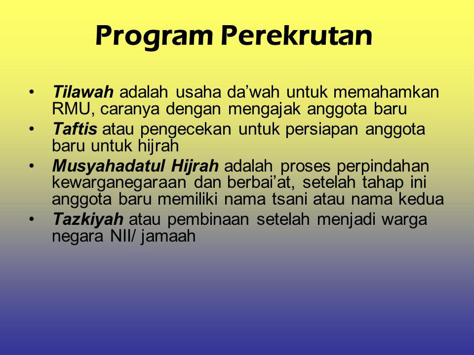Program Perekrutan Tilawah adalah usaha da'wah untuk memahamkan RMU, caranya dengan mengajak anggota baru Taftis atau pengecekan untuk persiapan anggo