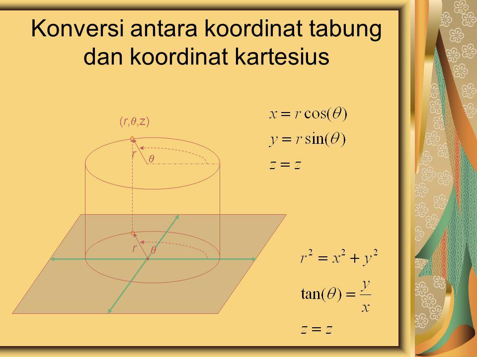 Konversi antara koordinat tabung dan koordinat kartesius  r  r (r, ,z)