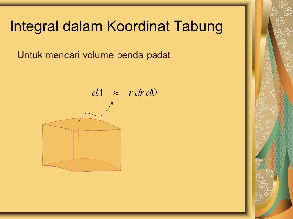 Integral dalam Koordinat Tabung Untuk mencari volume benda padat