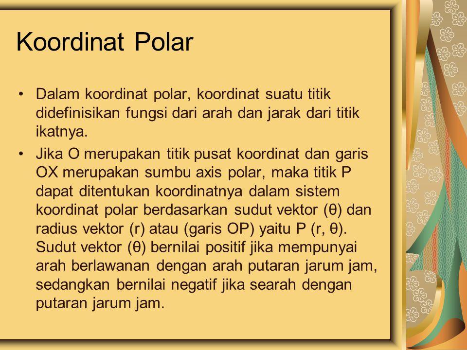 Koordinat Polar O (titik kutub) Sumbu Polar Dalam beberapa hal, lebih mudah mencari lokasi/posisi suatu titik dengan menggunakan koordinat polar.