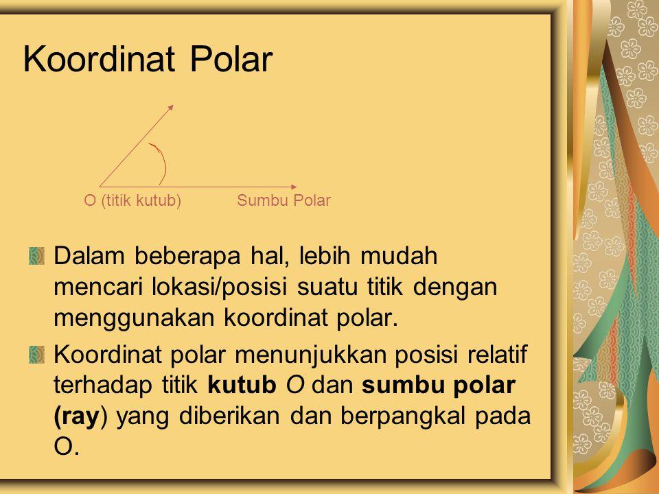 Titik P dengan koordinat polar (r,  ) berarti berada diposisi: -  derajat dari sumbu-x (sb.