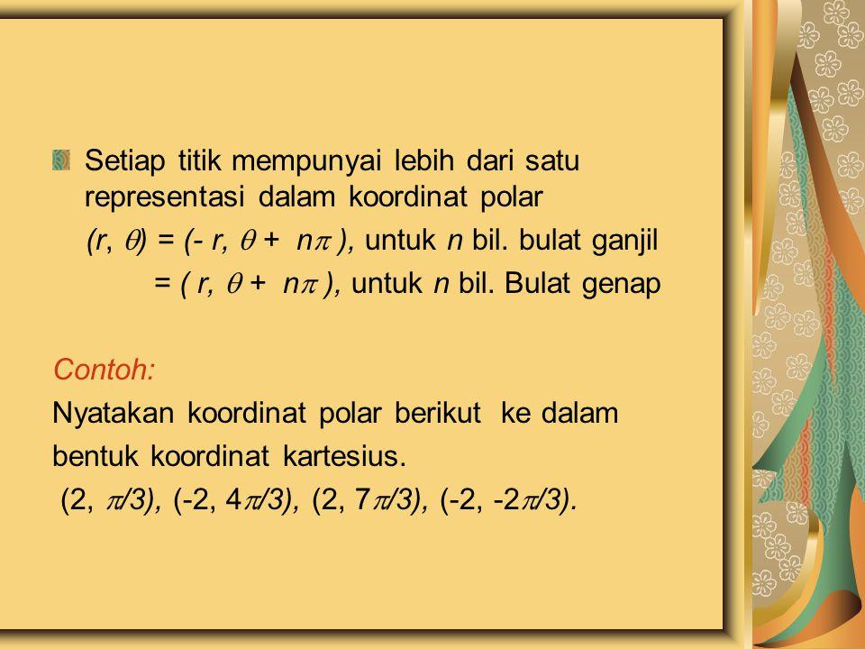 Setiap titik mempunyai lebih dari satu representasi dalam koordinat polar (r,  ) = (- r,  + n  ), untuk n bil. bulat ganjil = ( r,  + n  ), untuk