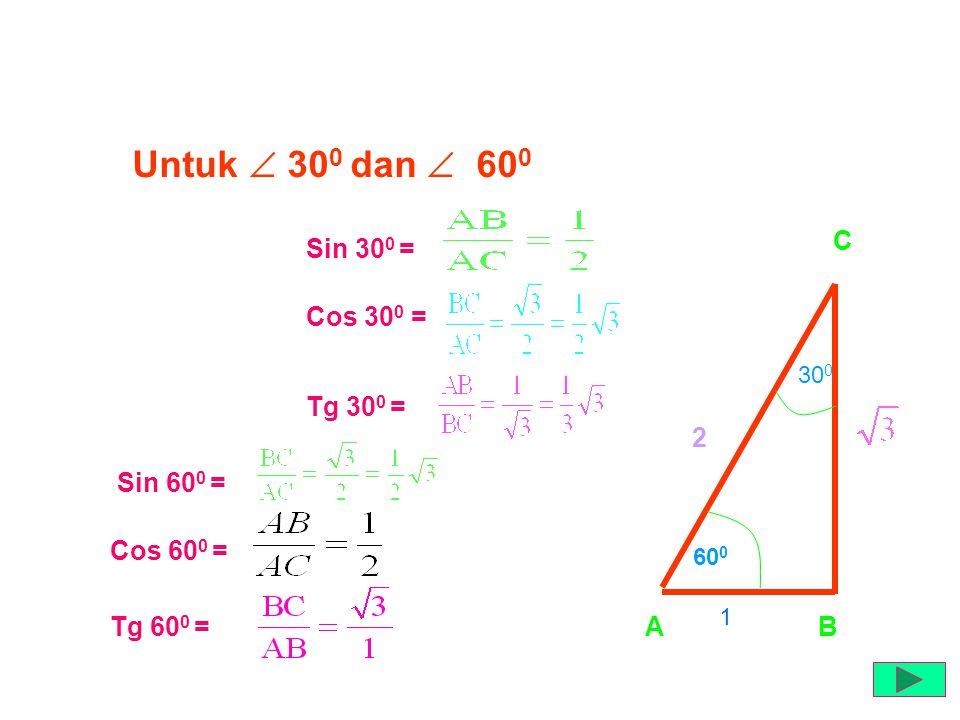 SUDUT ISTIMEWA Untuk  30 0 dan  60 0 AB C 60 0 30 0 2 1 Sin 30 0 = Cos 30 0 = Tg 30 0 = Sin 60 0 = Cos 60 0 = Tg 60 0 =