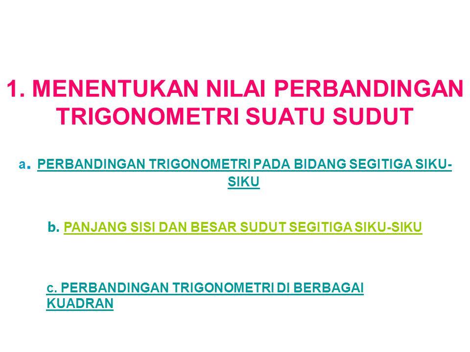 1. MENENTUKAN NILAI PERBANDINGAN TRIGONOMETRI SUATU SUDUT a. PERBANDINGAN TRIGONOMETRI PADA BIDANG SEGITIGA SIKU- SIKU PERBANDINGAN TRIGONOMETRI PADA