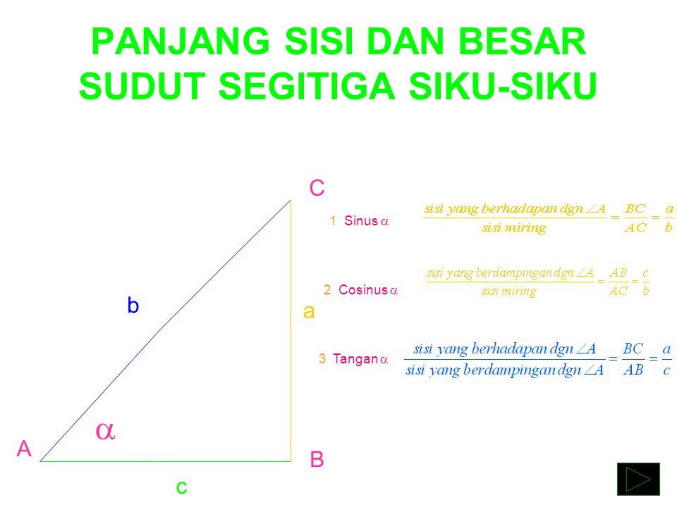 PANJANG SISI DAN BESAR SUDUT SEGITIGA SIKU-SIKU  A C B a b c 1. Sinus  = 2. Cosinus  = 3. Tangan  =